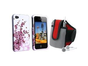 Spring Flowers Snap-On Protector Crystal Hard Case Cover + Red Sportband Compatible With Apple® iPhone® 4 AT&T 16GB 32GB ...