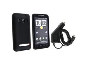 Black Silicone Skin Case + Car Charger (Micro Usb) compatible with HTC EVO 4G