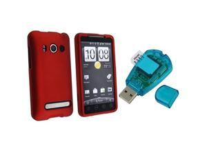compatible with HTC EVO 4G Red Rubberized Snap On Case + Sim Card Reader