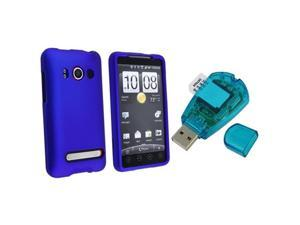 compatible with HTC EVO 4G Dark Blue Rubberized Snap On Case + Sim Card Reader