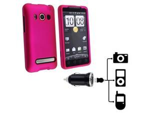 HTC COMBO Hot Pink Rubberized Hard Case + Universal USB Mini Car Charger Adapter compatible with HTC EVO 4G