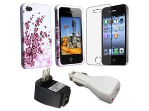 Spring Flowers Snap-On Case + 2 USB Port Travel aCharger Adapter Black + White USB Car Charger + Anti-Glare Screen Protector ...