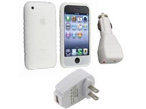 Acessory Packs Compatible With iPhone® 3GS 16 / 32GB - Clear White Silicone Soft Gel Case, Universal USB Car Charger Adapter, ...