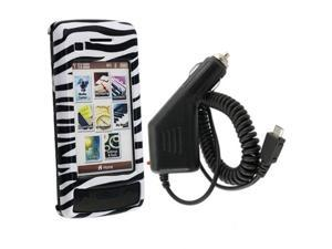 White / Black Zebra Clip-on Case + Car Charger compatible with LG VX11000