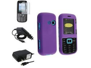 compatible with Lg Cosmos Vn250 Bundle Dark Purple Rubberized Hard Case + Lcd Shield Screen Guard + Wall + Car Charger