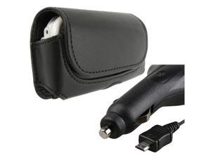 Micro USB Retractable Car Charger + Black Horizontal Leather Case compatible with LG Env3 Vx9200 Vx9600
