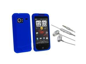 Premium Dark Blue Silicone Skin Case Cover + Silver 3.5mm Handsfree Headset w/Microphone & On/Off Switch compatible with ...