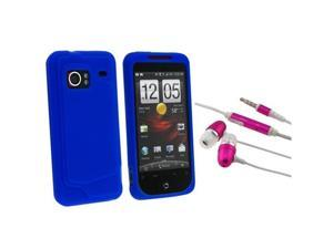 Silicone Soft Skin (Dark Blue) + 3.5mm Earphone Headset w/Mic (Hot Pink) compatible with HTC Droid Incredible