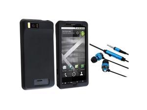 Black Silicone Skin Case + Blue / Black 3.5mm In-Ear Stereo Headset w/Microphone & On/Off Switch compatible with Motorola ...