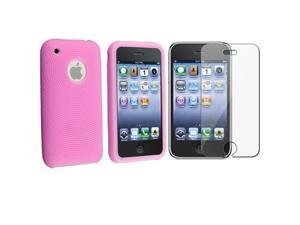 Compatible With Apple® iPhone® 3G 8GB / 16GB, 3GS 16GB / 32GB Textured Silicone Skin / Case (Baby Pink), with Reusable Screen ...