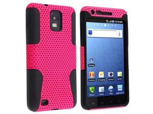 Hybrid Case compatible with Samsung© i997 Infuse 4G, Black Skin / Hot Pink Meshed Hard