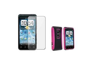 Hybrid Case with Clear Screen Protector compatible with HTC EVO 3D, Hot Pink TPU / Black Plastic