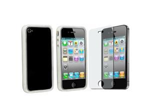 Clear White TPU Bumper Case with Anti-Glare Screen Film  Compatible With iPhone® 4 iPhone® 4S AT&T, Sprint, Version 16GB ...