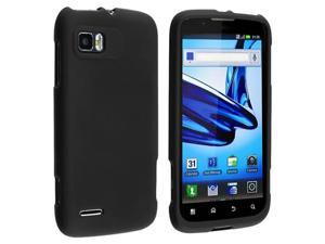 Black Snap on Hard Rubber Case with Reusable Screen Protectorcompatible with Motorola Atrix 2 MB865