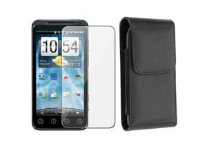 Black Leather Holster Pouch with Magnetic Flap + SCREEN PROTECTOR compatible with HTC EVO 3D