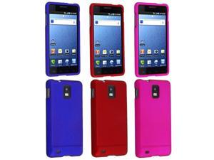 3 Pack Rubberized Snap On Hard Case Bundle compatible with Samsung© Infuse 4G ( Red / Dark Bule / Hot Pink)