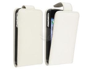 eForCity White Leather Case With Reusable Screen Protector Compatible With iPhone® 4 - At&t / 4 - Verizon / 4S