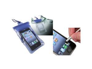 Universal Blue Waterproof Bag Cover Case+S Stylus Pen compatible with iPhone® 4 4S
