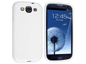 White TPU Rubber Case with Reusable Screen Protector compatible with Galaxy S III i9300
