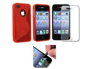 Red S Shape Soft TPU Rubber Case Skin+Pen+Diamond LCD compatible with iPhone® 4 s 4s th