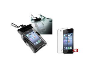 Black Waterproof Bag Cover Skin Case+3x Screen Protector compatible with iPhone® 4 4S