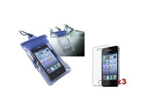 Blue Waterproof Bag w/Armband Case Cover+3x LCD Pro Film compatible with iPhone® 4 4S 4GS