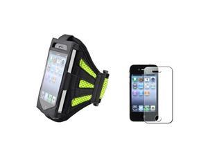 Armband Sportband Black/Green Case+Bling Glitter Guard Protector compatible with iPhone® 4 4S
