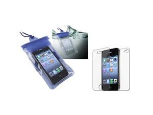 Blue Waterproof Bag Case Skin+Front Back Screen Guard compatible with iPhone® 4 4S