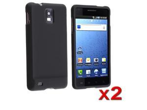 2x Black Hard Snap On Cover Skin Case compatible with Samsung© Infuse 4G i997 AT&T