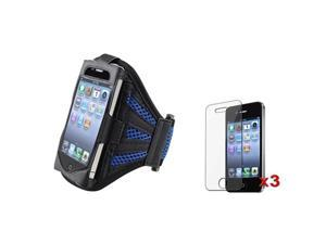 Black/Dark Blue Armband Sportband Case Cover Skin+3x Screen Pro compatible with iPhone® 4 4S