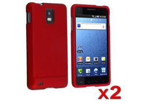 2 pcs Red Rubberized Hard Cover Skin Case compatible with Samsung© Infuse 4G i997 AT&T