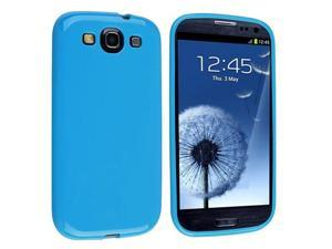 Blue Jelly TPU Rubber Case + Mirror Screen Protector compatible with Galaxy S III i9300