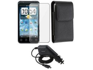 Leather Case Pouch Cover+Charger+LCD compatible with HTC EVO 3D