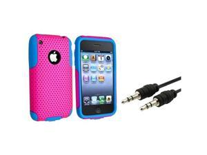 Blue Skin/Hot Pink Mesh Hybrid Hard Case+3.5mm Aux Cable compatible with iPhone® 3 3G 3GS