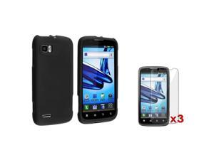 Black Rubber Hard Case Cover+3 LCD Protector compatible with Motorola Atrix 2 MB865
