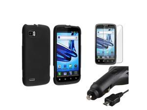 Black Hard Cover Case+Retract Car Charger+SP compatible with Motorola Atrix 2 MB865