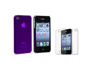 Clear Purple Slim Hard Clip-on Cover Case+LCD Film Protector compatible with iPhone® 4 G 4S