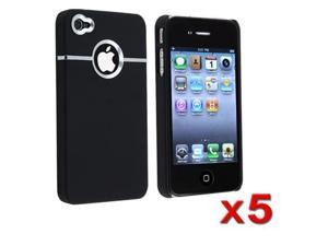 5 Black Rubberized Clip-on Hard Case Cover w/Chrome Hole compatible with iPhone® 4 AT&T Only