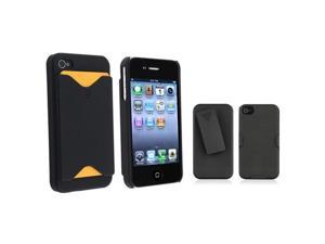 Black Holster+Black Card Holder Hard Skin Case Cover compatible with Apple® iPhone® 4 4S 4G HD