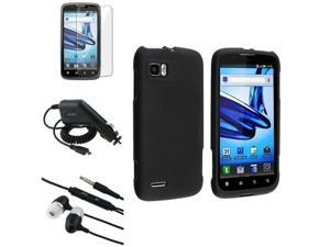 Black Hard Cover Skin Case+LCD+Car Charger+Headset compatible with Motorola Atrix 2 MB865