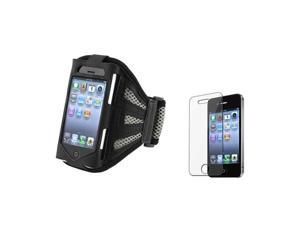 Black/Silver Armband Sportband Case Cover Skin+LCD Protector compatible with iPhone® 4 4th 4S