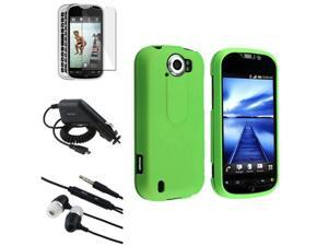 Green Hard Cover Skin Case+LCD+Car Charger+Headset compatible with HTC MyTouch 4G Slide