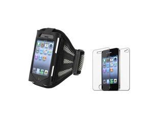 Black/Silver Sportband Armband Case+Front Back Screen Guard compatible with iPhone® 4 4S