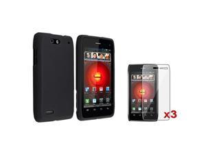 Black Snap-on Hard Case Cover+3x LCD Screen Protector compatible with Motorola Droid 4 XT894