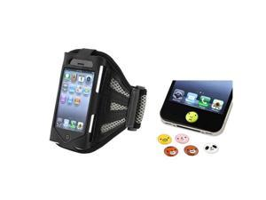 Armband Sportband Black/Silver Cover Case+Home Button Sticker compatible with iPhone® 4 4S