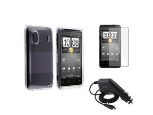 Clear Snap-on Rubber Hard Cover Case+Car Charger+LCD compatible with HTC EVO Design 4G