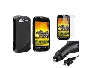 compatible with HTC Mytouch 4G Black S-line TPU Gel Case Cover+Protector+DC Car Charger