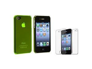 Clear Yellow Slim Hard Clip-on Cover Case+LCD Film Protector compatible with iPhone® 4 G 4S
