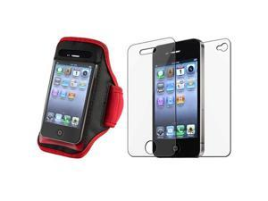 SportBand Armband Red/Black CASE Cover+Screen Film Guard compatible with iPhone® 4 G 4S 4GS