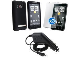 Black Rubberized Hard Coated Case+3 LCD SP+Car Charger compatible with HTC EVO 4G Sprint